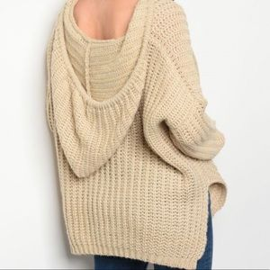 Sweaters - Oversized chunky knit hooded sweater